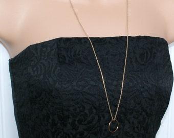 Long gold circle necklace, karma necklace, dainty gold necklace, long layered necklace, statement necklace