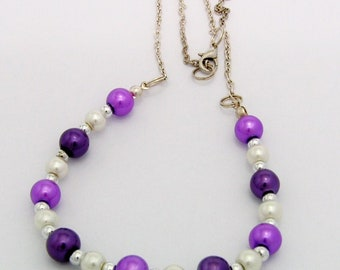"18"" Purple White, Necklace"