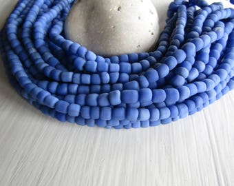 blue glass seed bead, matte opaque  barrel tube, small  ethnic spacer, indonesian 3 to 6mm, new indo-pacific (22 inches)7ab29-16