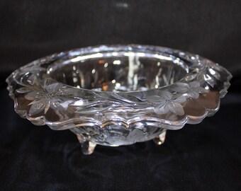 Antique Glass Rimmed Centerpiece Bowl