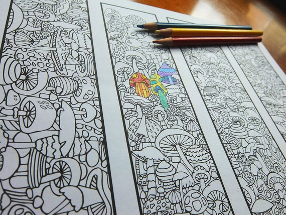 Big Abstract Coloring Pages : Coloring bookmarks mushroom bookmark coloring page for