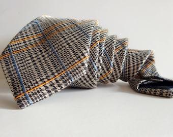 Mens necktie Checkered tie Wool tie Brown tie Silk tie Beige tie Tie Vintage tie Vintage necktie Wedding tie Classic tie Elegant Hand made