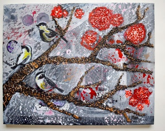 Texture Acrylic painting on canvas Outside Contemporary art of painting acrylic painting Original acrylic painting forest Original art work