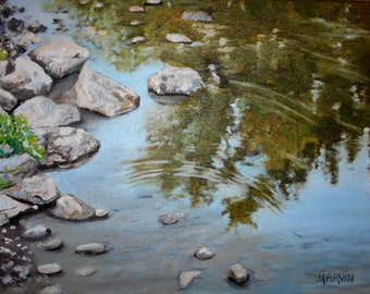 Original painting Reflections III oil painting 12 X16 inches stretched canvasTop selling artist