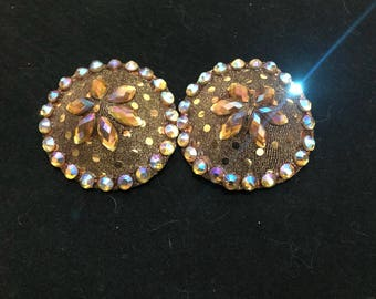 Rhinestoned gold round pasties