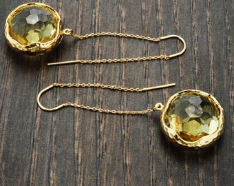 Crystal Threader Earrings Gold Chain Earrings Citrine Earrings Threader Jewelry