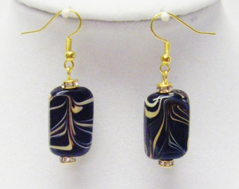 Black Swirl Rectangle Earrings