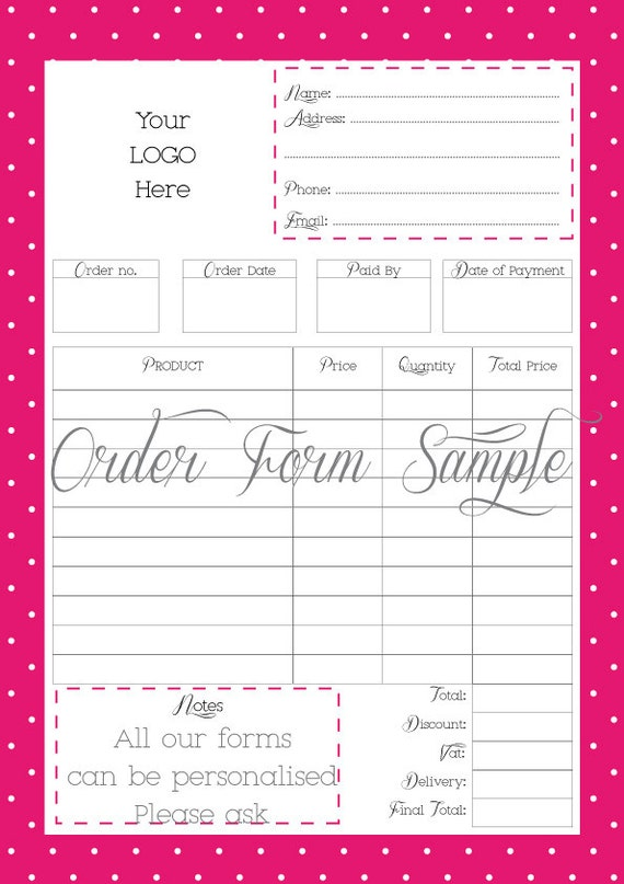 Business Order Forms Custom Order Forms Printable Pdf File