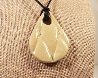 "Handcrafted Ceramic Pendant Necklace, Stoneware, 18"""