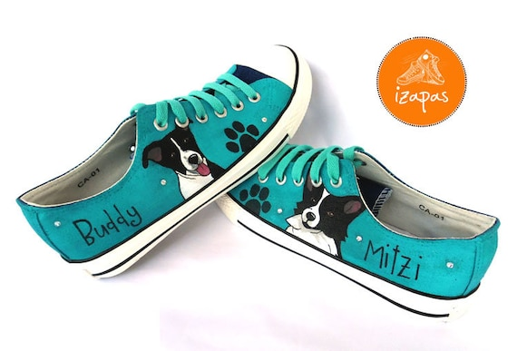 Border Collie Shoes, Sneakers, Hand Painted sneakers, dog shoes, Hand  Painted, canvas shoes, trainers, hand painted shoes, low tops