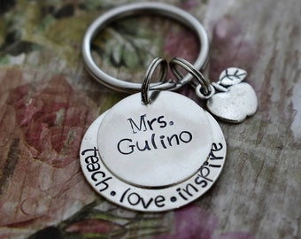 "Hand Stamped Teacher's Gift - ""Teach.Love.Inspire"" Personalized Keychain*Teacher Keychain* Teacher Gift**Teacher Appreciation*"