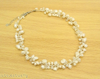 White freshwater pearl necklace with crystal on silk thread, Bridal necklace, Wedding jewelry