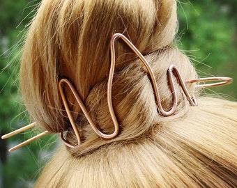Fire Hair Bun Holder, Hair clip Hair Cuff, Copper Hair Band Bracelet Hair Bun Piece Hair Fork, Metal Hair Slide Hair Pin, Women Gift for Her