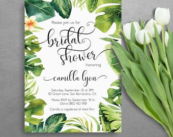 Tropical bridal shower invitation - Printable bridal shower invitation - Tropical bridal shower invitation - Floral bridal shower - AS-TR125
