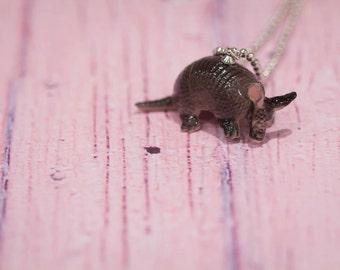 Armadillo Necklace -  Armadillo Pendant Necklace -  Animal Necklace - Armadillo  - Miniature China Animal - Armadillo - Armadillo Jewelry