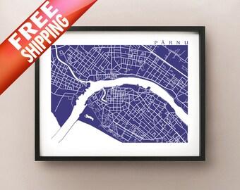 Pärnu Map Print - Estonia Art Poster