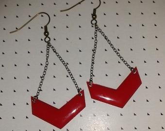 Earrings red chevrons