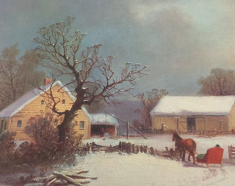 Wintertime on the Farm ~ Currier & Ives Calendar Print ~ Snowy Country Farm Scene with Red Horse Drawn Sleigh ~ George Henry Durrie