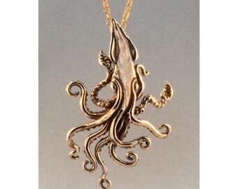 Kraken Necklace Bronze Kraken Squid Pendant Bronze Kraken Squid Jewelry Squid Necklace Squid Charm Steampunk Necklace Bronze Squid