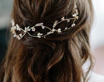 DELTA rose quartz moonstone bohemian wedding hair vine, boho bridal headpiece, blush romantic hairpiece