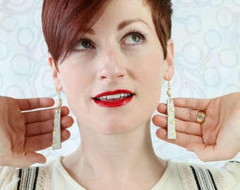 Embossed Brown or Cream  Leather earrings with Accent Beads