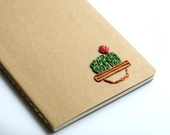 Cactus- hand embroidered moleskine pocket notebook