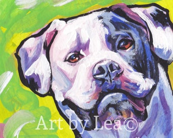American Bulldog art print of pop art dog painting by LEA bright colors 13x19""