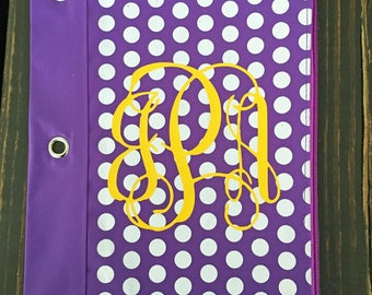 Monogrammed Polka Dot Pencil Pouch for Binders - Personalized with your Monogram