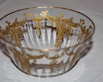 Val St.Lambert Cristal/gold Bowl