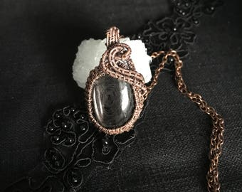 Wire Wrapped / Enstatite Cabochon / Pendant / Necklace / Black