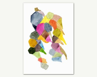 Geometrical Wall Art Abstract Print, Original Watercolor Painting, Modern Minimalist Wall Art, Home Decor, Cool Art Print, Living Room Decor
