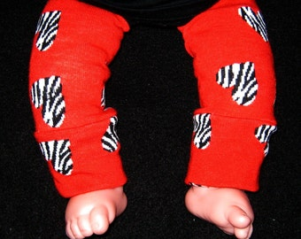Leg warmer, Infant, Newborn- Valentine Red and Animal Hearts - infant leg warmer, newborn leg warmer, baby girl leg warmer, baby leg warmer