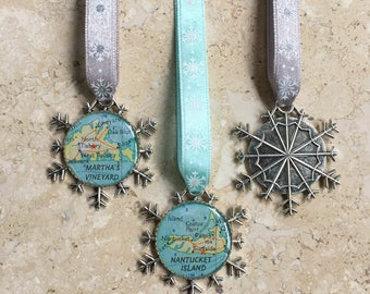 Snowflake Map Ornament Martha's Vineyard or Nantucket Silver