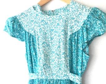 Vintage 70s Cotton Floral Prairie Sundress XS