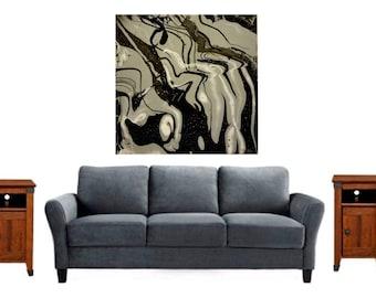 Original Abstract Painting/Fine Art Print/Gray Abstract Painting/Black Gray Abstract Print/Black Gray Painting/Gray Abstract Fine Art Print