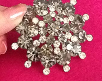 Vintage rhinestone brooch and earring set Demi-parure silver and gray