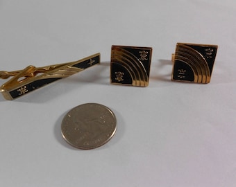 Vintage Gold Toned Mid Century Modern Black Cuff Links Tie Clip Set Jacob M Oldak