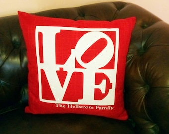 LOVE Pillow or Pillow Cover Personalized with Family Name 18 x 18