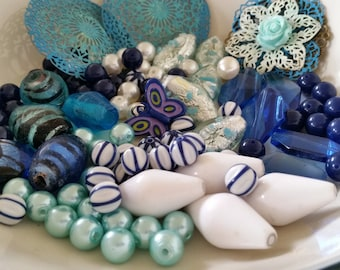 Beautiful Blue Bead Destash Lot - Rare Vintage Lucite and Glass Bead Mix