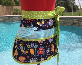 Monster Mash Sassy Vendor Apron with 6/8 pockets, Regular and Plus Sizes, great for Vendors, Utility, Farmers Market, Techers Aprons