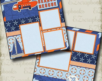 COAST GUARD - 2 Premade Scrapbook Pages - EZ Layout 738