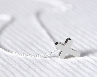 Minimalist Cross Necklace 925 Sterling Silver