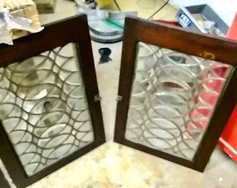 Original 1920's  Glass Cabinet Doors