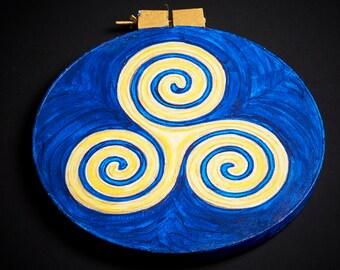 Original Painting Triskele Celtic Knot- Blue