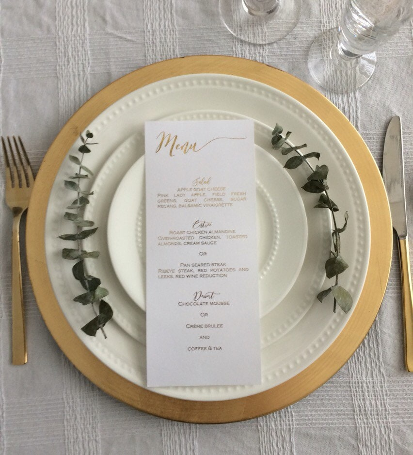 Sample gold menu card