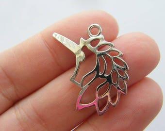 BULK 20 Unicorn charms antique silver tone A636