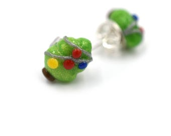 Polymer Clay Christmas Tree Earrings