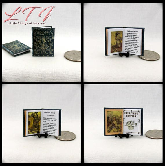GULLIVER'S TRAVELS Illustrated Miniature Book Dollhouse 1:12 Scale Readable Book