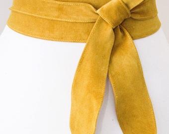 Mustard Yellow Suede Tulip Tie Obi Belt | Waist Belt | Suede Tie Belt | Real Suede Leather Belt| Yellow Belt | Plus size belts
