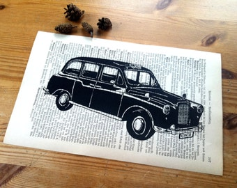 Shabby Chic | London Taxi | London Art Print | Office Decor | Desk Accessories | Rustic Wall Decor | Book Art | Housewarming Gift